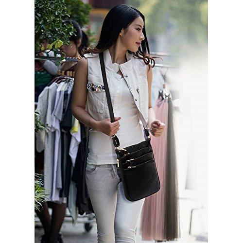 LeahWard® Genuine Umhängetasche Damen Essener Kunstleder Taschen Qualität Mode Essener nett Groß Handtaschen Grau 3 Reißverschluss
