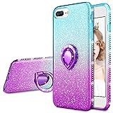 wlooo Glitter Coque pour iPhone 6 Plus/6s Plus/7 Plus/8 Plus, Bling Diamant Étui Bague Béquille Cristal Doux Silicone TPU Bumper Housse Étincelle Antichoc Brillante Case Cover (Teal Violet)
