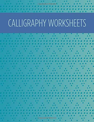 Calligraphy worksheets: Blank practice sheets book with slanted grid paper: Blue pattern cover design -