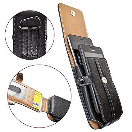 AXELENS COVER CASE VERTICAL HOLSTER POUCH FOR DOUBLE SMARTPHONE - Two Phones Case - BLACK LEATHERETTE - With Belt Loop, Carabiner and Magnetic Closure - UNIVERSAL - FAUX LEATHER - Card Compartment - For smartphones up to 5.1 inches - Phones up to 15 x 7,5 x 1,5