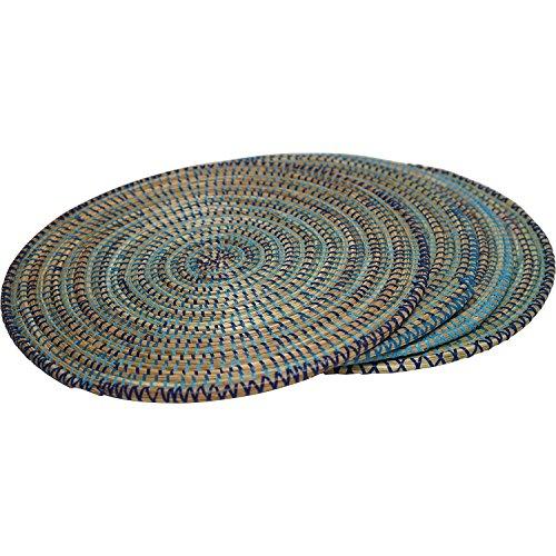EA Déco Naturel & Design 4 Sets de Table Pindé, Plastique, Tricolore Bleu, 40x40x1 cm