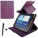 "Purple PU Leather Case Cover Stand for Hannspree HANNSpad Quad Core 10.1"" inch Tablet PC + Stylus Pen"