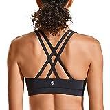 CRZ YOGA Donna Reggiseno Yoga Imbottito Supporto Criss Cross Back Nero-H146 S