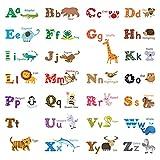 Decowall DW-1308 Inglés Alfabeto y Animales Vinilo Pegatinas Decorativas Adhesiva Pared Dormitorio Salón Guardería Habitación Infantiles Niños Bebés (Medio)