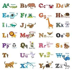 decowall dw 1308 animaux anglais alphabet autocollants muraux mural stickers chambre enfants. Black Bedroom Furniture Sets. Home Design Ideas