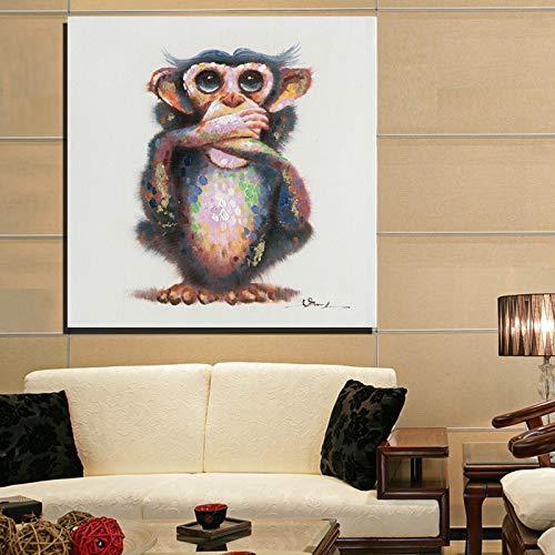 WSNDGWS Cute Little Monkey con Gafas de orangután Pintado a Mano Colorido Animal Decorativo Pintura al óleo