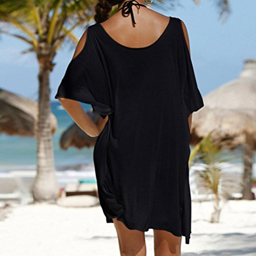 OverDose Damen Frauen-Strand-Kleid weg von der Schulter Sommer Buchstaben gedrucktes Robe Femme Kleid Tops Schwarz