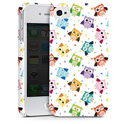 Apple iPhone 8 Tasche Hülle Flip Case Eulen Muster Bunt Premium Case glänzend