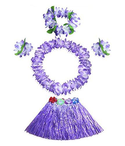 iianischen Hula-Tanz-Gras-Rock mit Blumen-Kostüm-Set (Bauchtänzerin Kostüm Kind)