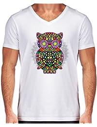 DesignedByIndependentArtists T-Shirt Scollo a V Uomo - Gufo Zentangle  Floreale by BluedarkArt 54d8dcb96d5