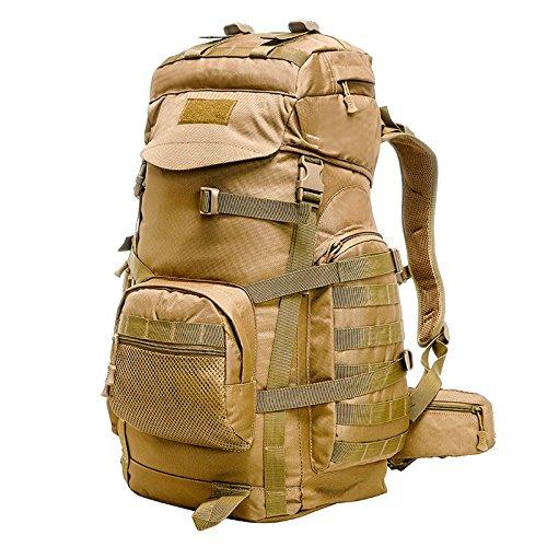 GOUQIN Outdoor Rucksack Klassische Mode Outdoor Tour Klettern Taschen Wandern Taktische Angriffe 60 L Paket Reisetasche Braun