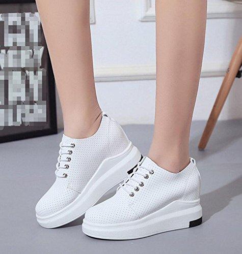 Wealsex Baskets Compensées Femme PU Cuir Sneaker Chaussures de Tennis Casuel Blanc