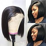Short Bob Human Hair Lace Front Wig 10A Brazilian Virgin Straight Human Hair Bob Wig for Black Women Lace Wig Human Hair Natural Color (14 inches)