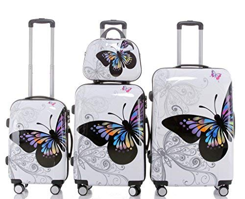 Maleta de Viaje 2060,rígida, en 12 Motivos, XL, L, M Butterfly 4er