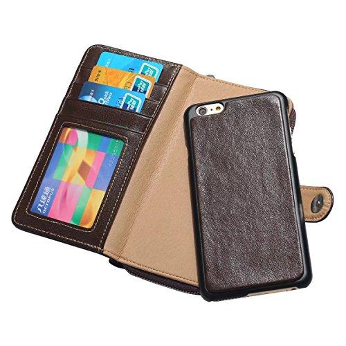 EKINHUI Case Cover Große Menge Echtes Leder Beutel Fall Abnehmbare 2 in 1 Reißverschluss Brieftasche Fall Deckung mit Card Slots & Lanyard für iPhone 6 & 6s ( Color : Brown ) Brown