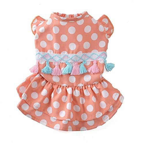 Pet Blue Kleidung Frühling und Sommer Rosa Polka Dot Fransen Rock Prinzessin Dog Kleidung Pet Kleidung Supplies Costume Pet Kleidung für kleine Hunde (Farbe : Rosa, größe : 16#) - Rosa Polka Dot Kleidung