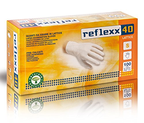 Reflexx R40, Gepuderte Latexhandschuhe, XL, Bianco, 100