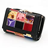 Genuine Leather Women Wallets Patchwork Coin Pocket Clutch Mini Purse Wallet