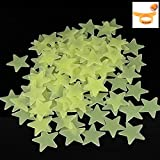 100PCS Home Wall Glow In The Dark Stars Stickers Decal Baby Kid's Nursery Room - DIY Wall Decal - Light Green - Plastic Luminous Wall Stickers Bedroom Decoration (One Orange peel device AS GIFT) by LianLe
