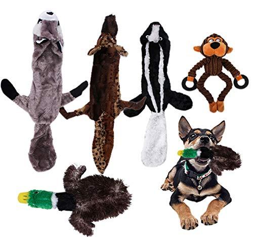 GreatFunPet Dog Toy , Hundekauen Knochen Plüsch Durable Puppy Toy Quietschendes Tier Hundekauen-Spielzeug-Set Natürliche Zahnbehandlungen Hund behandelt Reis Knochen Bully Sticks Hundekauen