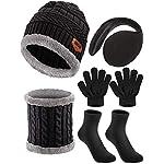 5 Kids Winter Outing Ski Set, Winter Hat Scarf Gloves Earmuffs Socks Boys Girls