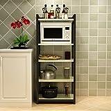 DONG Küchenboden Regal Stahl Holz Mikrowelle Rack Multi-Layer-Ofen Rack Lagerregal Real Küche Guter Helfer 3 Schichten / 4 Schichten ( Farbe : F )