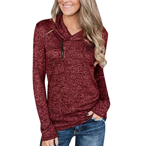 iHENGH Damen Top Bluse Lässig Mode T-Shirt Frühling Sommer Frauen Bequem Blusen Womens Langarm Sweatshirt Zipper Pullover trägerlose (Wein, XL)