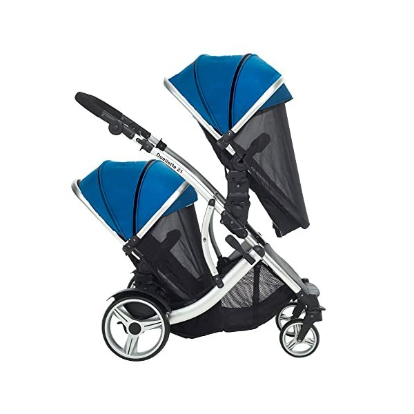 Kids Kargo Duellette 21 Combi Travel system Pram double pushchair NEW COLOUR RANGE! (French aqua plain bumpers) Kids Kargo Demo video please see link https://www.youtube.com/watch?v=X_tEcnQ8O8E%20 Suitability Newborn - 15kg (approx 3 yrs). Carrycot converts to seat unit incl mattress Carrycot & car seats fit in top or bottom position. Compatible car seats; Kidz Kargo 0+, Britax Babysafe 0+ (no adapters needed) or Maxi Cosi adaptors 6