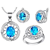 KnSam Collar Plata Mujer, Conjunto de Collar Pendientes y Pulsera, Hueco Oval Azul Cristal Juego de Joyas Tamaño 17