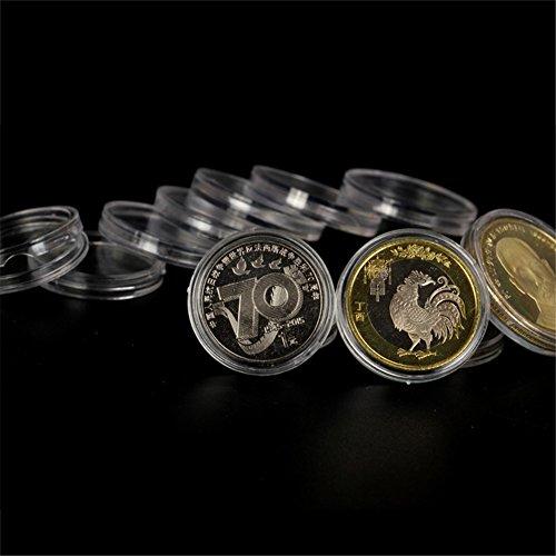 50 stücke 44mm münz kapseln runde münzfall acryl münze vitrine kunststoff bitcoin sammlung halter lagerbehälter für sammler von yunhigh - 2