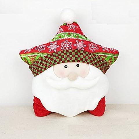 XJoel Natale Jolly di Santa Clau Stella federa cuscino Soft Cover di Natale a tema casa 18 decorativo