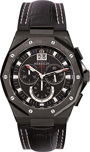 Michel Herbelin Unisex Erwachsene Chronograph Uhr mit Leder Armband 36635/NN14