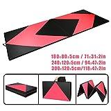 CCLIFE Rose+Schwarz Weichbodenmatte Turnmatte Klappbar Gymnastikmatte 300/240 / 180 cm, Größe:300x120x5cm