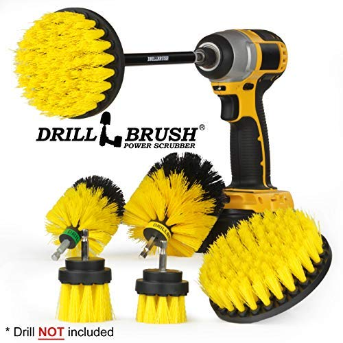 Drillbrush Ultimate Grout Cleaning Kit with Long Reach Extension - Shower Curtain - Bath Mat - Bathroom Cleaner - Drill Brush - Tile and Grout Cleaner - Bathtub, Shower, Sink, Toilet, Bidet, Flooring - Ultimate Peeling