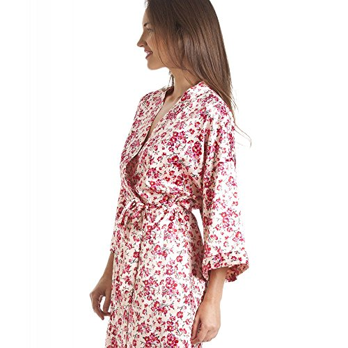 Chemise de nuit/robe de chambre assorties - style kimono - motif floral - rose Rose