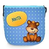 Umhängetasche für Kinder mit Namen Nikita und schönem Motiv mit Bär   Schultertasche für Jungen