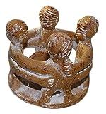 budawi® - Freundeskreis mit 4 Freunden aus Ton, Handwerkskunst aus Mexico, Teelichthalter