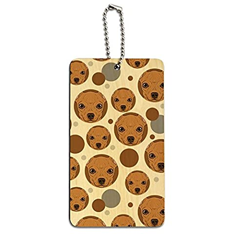 Wood Luggage Card Suitcase Carry-On ID Tag - Dog Puppy - Chihuahua Face Close up