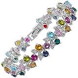 Jewellery Round Cut Multi Colors Gemstones Fine CZ 18K White gold Plated [18cm / 7inch] Tennis Bracelet Simple Modern Elegance [Free Jewelry Pouch]