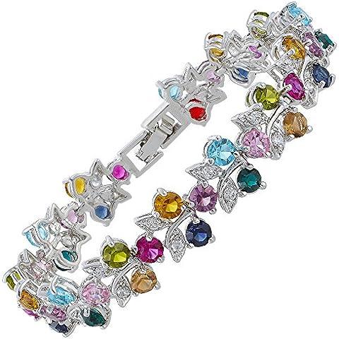 Diamante de imitación corte redondo Multi-Color Tenis Declaración regalo del partido pulsera de moda