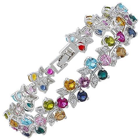 Rizilia Jewellery Round Cut Multi Colors Gemstones Fine CZ 18K White gold Plated [18cm / 7inch] Tennis Bracelet Simple Modern Elegance [Free Jewelry Pouch] (Multi color) ¡