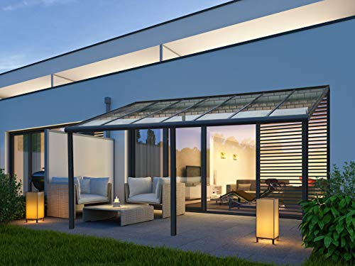 VITRO Terrassenüberdachung Echtglas Aluminium Carport Bausatz 7x4 6x3 5x3 5x3,5m (4 x 4m)
