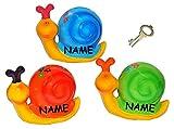 """Sparschwein - """" Schnecke """" - incl. Name - Porzellan / Keramik mit Schlüssel - stabile Sparbüchse Spardose Kinder Figur groß - Schnecken"""