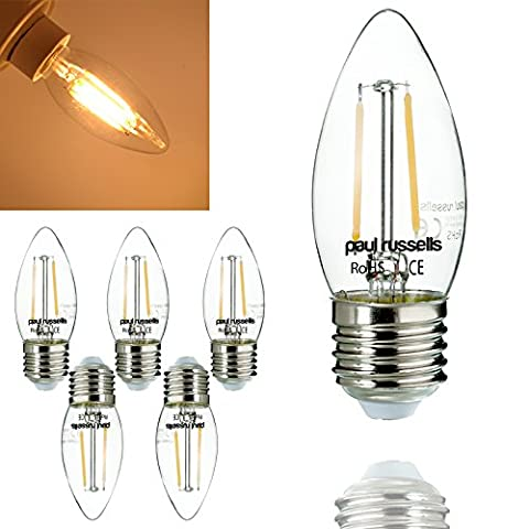 5 x E27 LED Filament Bulb 2W=25W / 4W=40W Warm