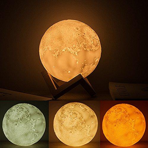 """Lune Lampe, BWORPPY LED Moon Ball Lamp, USB Rechargeable Night Light Pour La Maison, Chambre Avec Support En Bois, 5.9""""/15cm"""