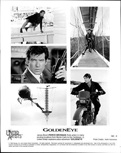 "Vintage photo of Pierce Brosnan stars in the seventeenth spy film in the James Bond series, ""GoldenEye"" (1995)."