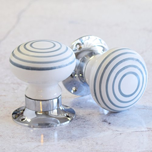 Maniglie In Ceramica Per Porte Interne.Pushka Home Coppia Di Ceramica Grigio A Righe Bianco Interno A