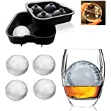The Vogue Nation Flexible Silicone Spherical 4 Round Ball Ice Cube Tray Maker Mold With Lid Perfect Ice Spheres For Whiskey Lovers Cocktails
