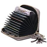 Leder Ziehharmonika-Kreditkartenetui Geldbörse Scheckkarten Kartenetui Visitenkartenetui Schlüsselbörse,Grau