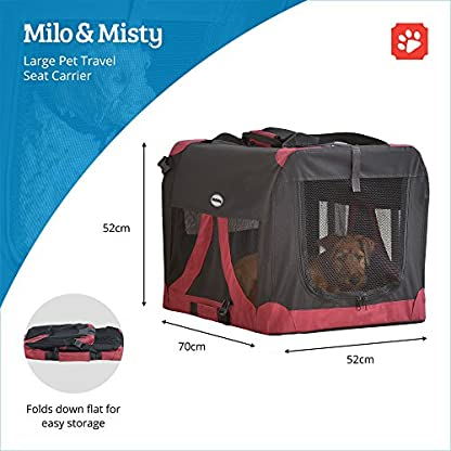MILO & MISTY Large Fabric Pet Carrier - Lightweight Travel Seat for Dogs, Cats, Puppies - Made of Waterproof Nylon and a… 3